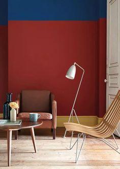 Paredes decoradas: 13 ideias de pinturas criativas (Foto: Divulgação) Little Greene Farbe, Little Greene Paint, Red Interiors, Colorful Interiors, Coloured Skirting Boards, Room Colors, Wall Colors, Paint Colours, Interior Paint
