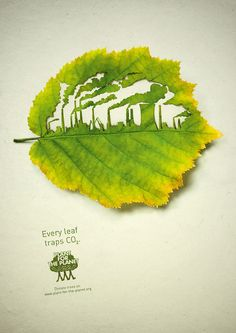 leaves, leave it, leaf, green, CO2, clever ad, double take, look again, arty