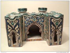Encrier d´Enlumineur Maroc faïence Fez Fès céramique début XXème Islam Islamic