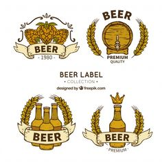 Selection of four hand-drawn beer stickers Free Vector