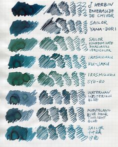 Are They Blue Or Green? Quick Comparison - Ink Comparisons - The Fountain Pen Network Zentangle, Stationery Pens, Dip Pen, Fountain Pen Ink, Penmanship, Pen And Paper, Writing Instruments, Ink Color, Photoshop