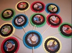 $9.00 24ct set of 3D Thomas the Train and Friends Happy birthday/Party cupcake toppers