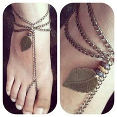 Soul: Toe Ring Chain Metal Feather Anklet. Slave Anklet on Etsy, $22.00 [SOLD]