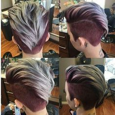 360 Pixie Haircut View - Shaved Short Hairstyle for Thick Hair - Hair Tutorials Short Hairstyles For Thick Hair, Short Haircuts, Pretty Hairstyles, Short Hair Styles, Hairstyles 2018, Short Hair With Undercut, Faux Hawk Hairstyles, Undercut Hairstyles Women, Oval Face Hairstyles