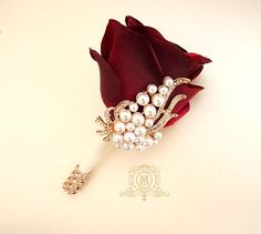 Groomsmen Boutonniere, Corsage And Boutonniere, Groom And Groomsmen, Boutonnieres, Wedding Boutonniere, Red Rose Boutonniere, Groomsmen Buttonholes, Groom Suits, Groom Attire