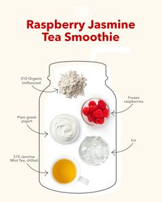 This yummy and thirst-quenching Raspberry Jasmine Mint Smoothie is simple to make & full of nutrition from whole foods including 310 Shake and frozen raspberries - offering high-quality protein and fiber! Protein Powder Recipes, Protein Shake Recipes, Protein Shakes, Mint Smoothie, Tea Smoothies, Whole Food Recipes, Healthy Recipes, Mint Tea, Five Ingredients