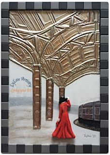 Lady and the train (pewter, clay and mosaic)