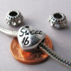 Sweet 16 Sixteen Birthday Heart Charm Bead And by xanaducharms, $5.95