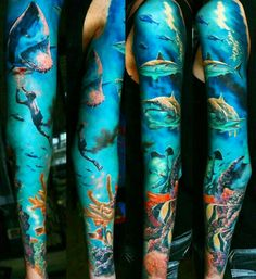 See more ideas about ocean sleeve tattoos, sea tattoo sleeve and underwater Ocean Sleeve Tattoos, Ocean Tattoos, Best Sleeve Tattoos, Sleeve Tattoos For Women, Tattoo Sleeve Designs, Tattoo Designs For Women, Octopus Tattoos, Tattoo Sleeves, Beach Tattoos