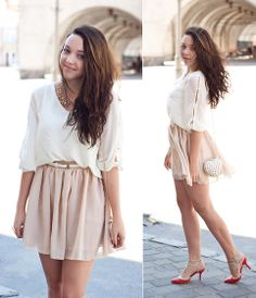 Blouse, Skirt, Necklace, Shoes