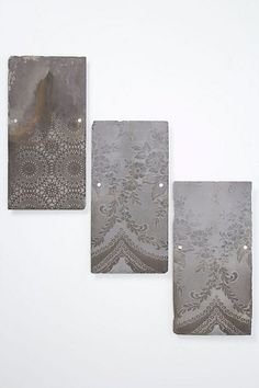 lace print on slate- how to recreate this- spray paint through a doillie