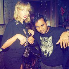When you both wear cat shirts 🐾@azizansari