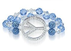 Peace Sign Bracelet Kit (Light Sapphire) - made with Swarovski Crystals, .925 Sterling Silver, and a Peace Sign Bead Thru