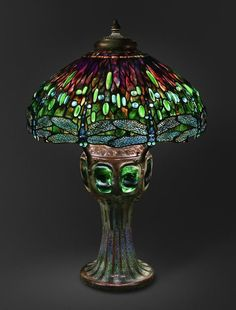 Hanging Head Dragonfly Shade on Mosaic and Turtleback Base, 1906, design attributed to Clara Pierce Wolcott Driscoll (American, 1861-1944)  Made by Tiffany Studios (1902-1932), (collection of the Art Institute of Chicago)