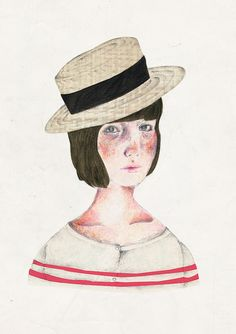 cococorey | girl with hat | illustration