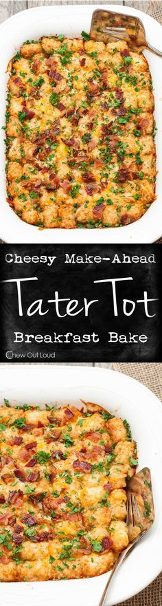Cheesy Tater Tot Breakfast Bake - Just a handful of ingredients, make-ahead the night before, and delicious the next morning! Total crowd pleaser! Breakfast Crowd, Easy Breakfast Ideas, Breakfast Potluck, Brunch Ideas For A Crowd, Night Before Breakfast, Easter Breakfast Recipes, Breakfast Potatoes Easy, Breakfast Crockpot Recipes, Camping Breakfast