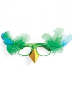Parrot Glasses This four-eyed glasses-based costume is fast and fun, and is a sufficiently understated parrot costume.Glue a yellow beak and add feathers to green eyeglasses frames.