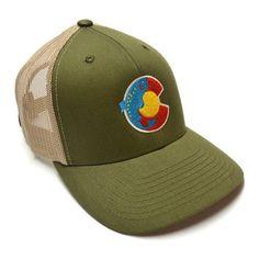 Trout Colorado Flag Trucker Hat - SAGE/TAN