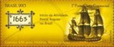 Sello: 1663 (Brasil) (350 years Brazilian Post Office) Mi:BR 4058,RHM:BR C-3249