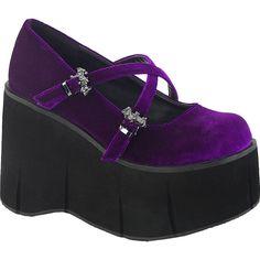 Inked Boutique - Women's KERA-10 Platform Mary Jane Shoe Purple Velvet (Available in purple, burgundy or black!) Bat Goth www.InkedBoutique.com