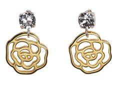 Silver & Golden Rose Earrings