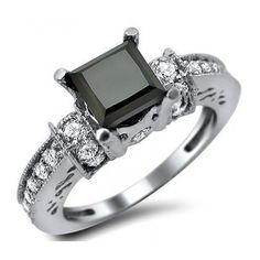 1.90ct Black Princess Cut Diamond Engagement Ring 14k White Gold /... ($1,395) ❤ liked on Polyvore