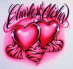 Airbrush T Shirt Hearts And Zebra Hearts Two by BizzeeAirbrush, $19.99