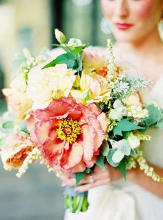 Lush pink and yellow peony bouquet