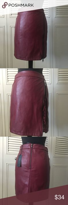 New Romeo & Juliet Couture Skirt NWT Cute Romeo & Juliet Couture Burgundy Faux Leather (PU) Skirt with side zip up and Lace under. Romeo & Juliet Couture Skirts