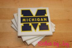 Set of 4 Ceramic Tile Coasters - University of Michigan on Etsy, $10.00