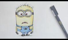 draw a minion-debbyarts Minion Sketch, Minion Drawing, Doodle Drawings, Doodle Art, Colored Pencils, Minions, Emoji, Doodles, Hero