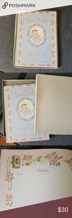Vintage 1950s Baby Book (Unused) Whoa! What a find. Cutest original 1950s baby book. Would be perfect for decoration, ripping the pages out to decoupage, or to give to a new mom who loves vintage & antiques. Pages are themed and blank and comes with original box. :) Vintage Other