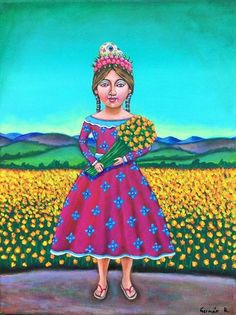 Mexican Painting German Rubio Folk art day of the dead sugar skull girl flowers