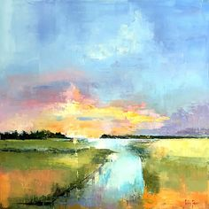 Sunset on Ashley Creek by james pratt Oil ~ 20 x 20 Abstract Landscape Painting, Landscape Art, Abstract Art, Beautiful Landscape Paintings, Watercolor Pictures, Watercolor Paintings, Water Art, Painting Inspiration, Canvas Wall Art