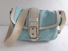 Coach Hamptons Blue Polished Cotton White Cross-Body Shoulder Bag Handbag F10707 #Coach #MessengerCrossBody