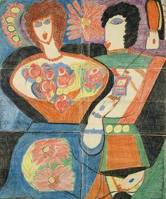 See more of Aloise Corbaz's schizophrenia artwork at http://www.schizlife.com/the-art-brut-of-aloise-corbaz/