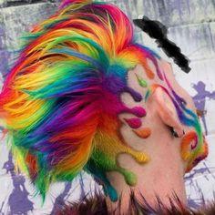 Regenbogen Haare♀️ Rainbow - rainbow - # hairstyles Kitchen Organization Ideas Article Body: Go thr Creative Hairstyles, Cool Hairstyles, Braid Hairstyles, Rainbow Hairstyles, Wedding Hairstyles, Shaved Hair Designs, Cool Hair Color, Weird Hair Colors, Vivid Hair Color