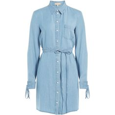 Michael Kors Collection Denim Shirtdress ($470) ❤ liked on Polyvore featuring dresses, blue, long sleeve denim dress, collar dress, blue dress, blue denim dress and collared shirt dress