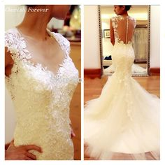 Cheap dress design for office, Buy Quality dress tennis directly from China dresses lycra Suppliers:  Free Shipping 2016 Ivory Colour Vestidos De Noiva Lace Applique Mermaid Wedding Dresses Vintage Bridal Gown Chapel