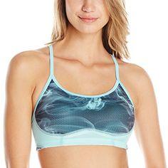 92e4d74928610 New Balance Womens The Tenderly Obsessive Printed Bra Medium Seaspray Print     You can find