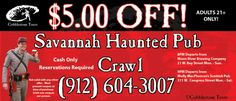 """Our haunted pub crawl is just for adults! Come join our knowledgeable and fully-licensed guides (in period costume!) on an informative and humorous two-hour candlelight walking tour of Savannah's pubs and taverns. You'll enjoy our strange history and both types of local """"spirits"""" as we explore two types of Savannah's time-honored traditions: ghost stories and alcohol."""