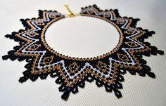 Items similar to Beaded Necklace, Black Gold White beadwork necklace on Etsy Seed Bead Necklace, Boho Necklace, Collar Necklace, Seed Beads, Gothic Jewelry, Beaded Jewelry, Beaded Necklaces, Native American Beading, Fringe Earrings