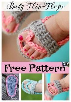 Crochet Baby Flip Flop Sandals -Free Pattern #crochet #sandals #freepattern
