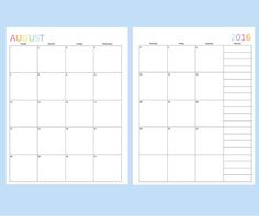 Printable 2016 Calendar has each month on two pages. Stay organized for the year ahead with this pretty monthly calendar template. Includes a to do list. Monthly Planner Template, Yearly Calendar Template, Printable Planner Pages, Calendar Printable, Printables, Discbound Planner, Classroom Calendar, Calendar Organization, 2016 Calendar