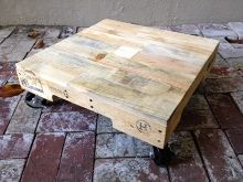 Rolling pallet table - made from recycled wood shipping pallets