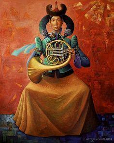Zayasaikhan Sambuu  ~  Women With French Horn, 2014