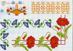 cross stitch border with with poppies flowers - free cross stitch patterns crochet knitting amigurumi Cross Stitch Boarders, Cross Stitch Love, Beaded Cross Stitch, Cross Stitch Flowers, Cross Stitch Designs, Cross Stitching, Cross Stitch Embroidery, Embroidery Patterns, Cross Stitch Patterns