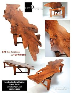 Jackson Mesquite Slab Table by Lou Quallenberg Mesquite Tree, Mesquite Wood, Slab Table, Spring Art, Wood Sculpture, Woodworking Projects, Sisters, Interior Design, Antiques
