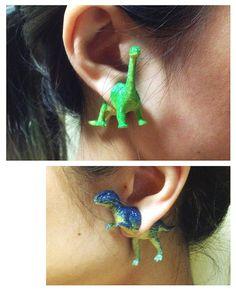 OOO - upcycled retro dinosaur toy earring – parasaurolophus, triceratops, velociraptor, stegosaurus, wyvern