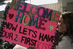 The homecoming sign I made for my soldier! Homecoming Signs, Homecoming Ideas, Homecoming Dresses, Military Love, Army Love, Welcome Home Signs, Army Girlfriend, Navy Life, Life Care